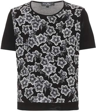Salvatore Ferragamo Printed wool and silk top