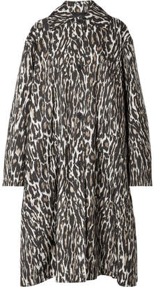 Calvin Klein Oversized Leopard-print Faille Coat - Brown