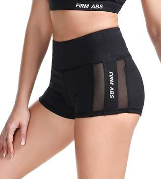 "ABS by Allen Schwartz FIRM Women's Elastic Waist Yoga Fitness Running Exercise Shorts Booty Shorts 2"" Inseam"