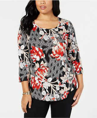 JM Collection Plus Size Mixed-Print Top