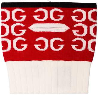 Gucci red and white logo intarsia wool neck scarf