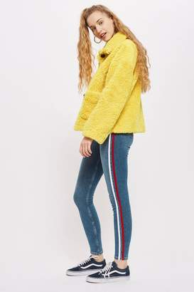 Topshop PETITE Red Side Striped Jamie Jeans