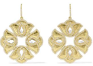 Amrapali Kaliyana Lotus 18-karat Gold, Topaz And Diamond Earrings