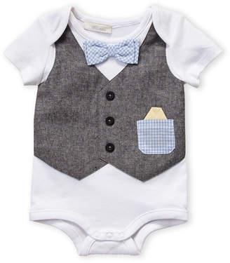 b27fd3a45fe9e Miniclasix Newborn Boys) Grey Check Bowtie Bodysuit