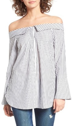 Women's Lush Stripe Off The Shoulder Top $49 thestylecure.com