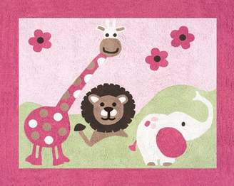 JoJo Designs Pink and Green Jungle Friends Accent Floor Rug by Sweet
