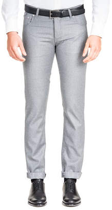 Isaia Men's Flannel Straight-Leg 5-Pocket Pants