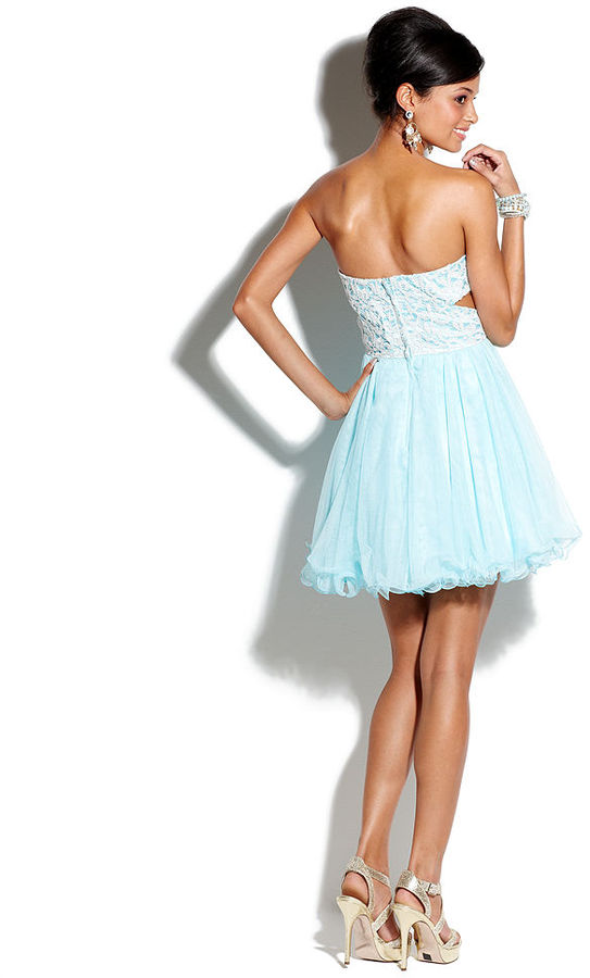 Roberta Juniors Dress, Strapless Empire-Waist Tulle
