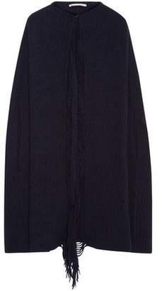 Stella McCartney Fringe-trimmed Ribbed Cashmere And Wool-blend Cape