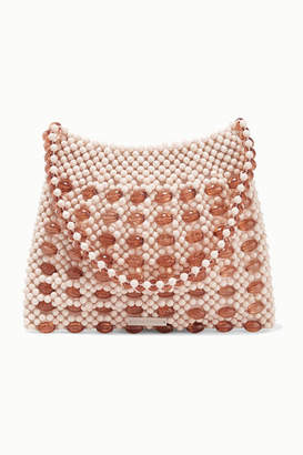 Loeffler Randall Mira Beaded Satin Shoulder Bag - Cream