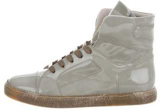 Brunello Cucinelli Patent Leather High-Top Sneakers w/ Tags