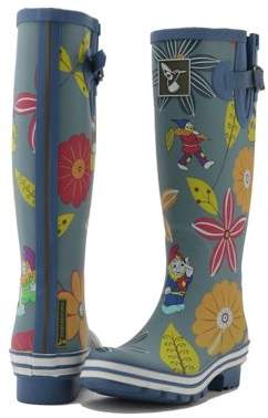 Dahlia Evercreatures Ladies Funky Wellies Garden Pattern In Blue - Size 3 (Uk) Adult 03