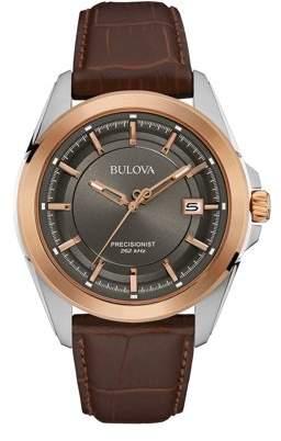 Bulova 98B267 Men's Precisionist Grey Dial Brown Leather Strap Watch