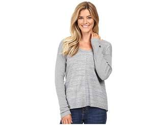 Mod-o-doc Heavenly Jersey Raw Edge Side Vented Pullover w/ Rib Sleeve Women's Long Sleeve Pullover