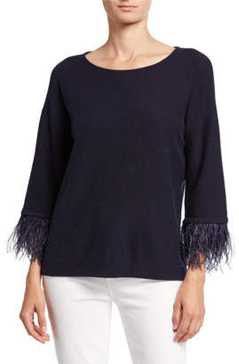 Neiman Marcus Cashmere Boat-Neck 3/4-Sleeve Sweater with Ostrich Feathers