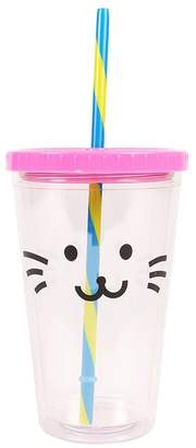 Girls Paperchase Glitter Cat Straw Cup - Gold
