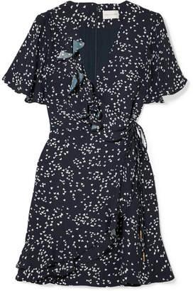 Rebecca Vallance Flores Ruffled Printed Crepe Wrap Mini Dress - Navy