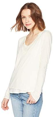 Stateside Women's Lightweight Jersey Layered V Neck Tee