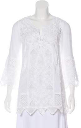 Calypso Embroidered Three-Quarter Sleeve Top