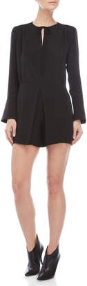 Derek Lam Black Self-Tie Long Sleeve Romper