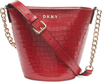 DKNY Kim Leather Chain Bucket Crossbody