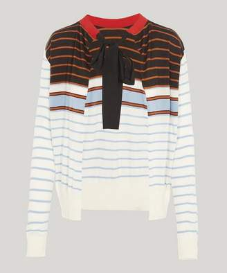Marni Stripe Tie-Neck Knit