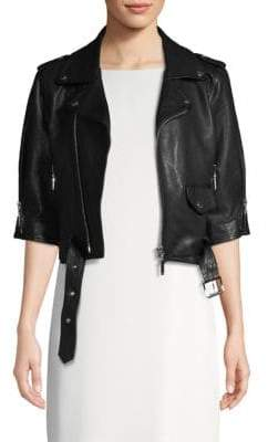 Escada Sport Lailly Cropped Leather Moto Jacket