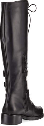 Stuart Weitzman PoliceLady Leather Lace-Up Knee Boot