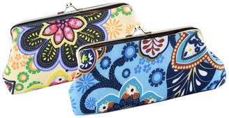 Oyachic Coin Purse 2 Packs Phone Pouch Flower Pattern Clasp Closure Wallet