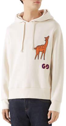 Gucci Men's Deer-Applique Pullover Hoodie