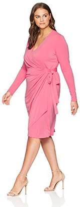 Lark & Ro Women's Plus Size Classic Long Sleeve Wrap Dress