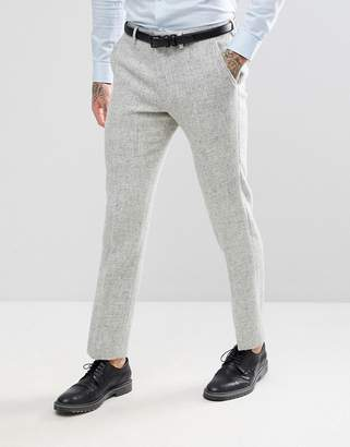 Asos DESIGN Slim Suit Pants in 100% Wool Harris Tweed Herringbone In Light Gray