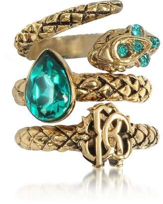 Roberto Cavalli Goldtone Metal Triple Ring w/Blue Crystals