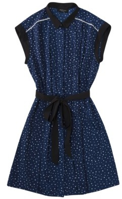 Jason Wu for Target® Sleeveless Pleated Shift Dress in Navy Dots with Black Belt