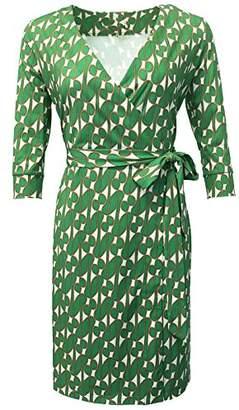 Diane von Furstenberg XC Dresses XC Summer Women Retro Floral Print 3/4 Sleeve Wrap Midi Causal Dress with Belt