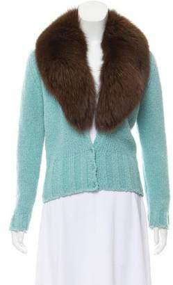 Anna Molinari Fur-Trimmed Knit Cardigan