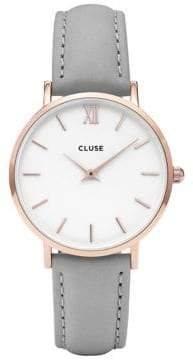 Cluse Minuit CL30002 Rose Goldtone Leather Analog Watch