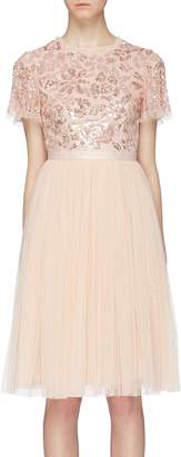 Needle & Thread 'Dream Rose' cutout back sequin floral tulle dress