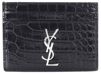 Saint Laurent Monogram embossed leather card holder