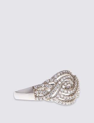 Marks and Spencer Platinum Plated Vintage Swirl Diamanté Ring