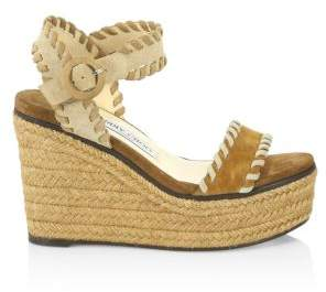 Jimmy Choo Women's Abigail Suede Whipstitch Platform Wedge Sandals - Natural - Size 40.5 (10.5)