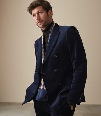 Reiss LINCOLN CORDUROY DOUBLE BREASTED BLAZER Navy