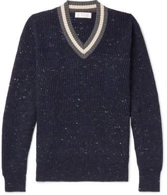 Brunello Cucinelli Stripe-Trimmed Mélange Virgin Wool-Blend Sweater