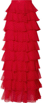 Rodarte Tiered Polka-dot Flocked Silk-chiffon Maxi Skirt