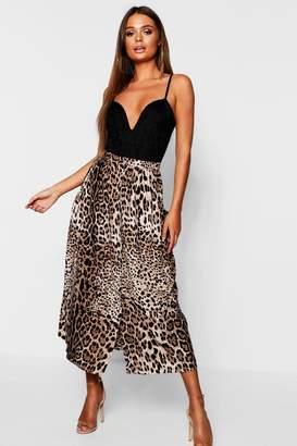 boohoo Leopard Print Button Through Midaxi Skirt