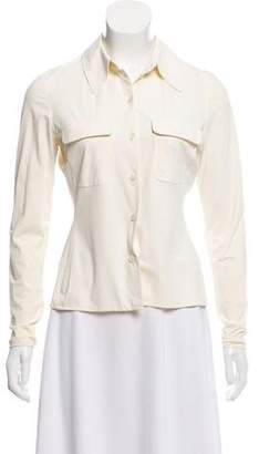 Charles Chang-Lima Pointed Collar Button-Up Top