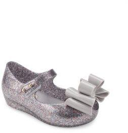 Mini Melissa Toddler's & Little Girl's Ultragirl Glitter Bow Mary Jane Flats $63 thestylecure.com