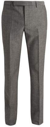 Saint Laurent Slim Leg Wool And Mohair Blend Trousers - Mens - Grey