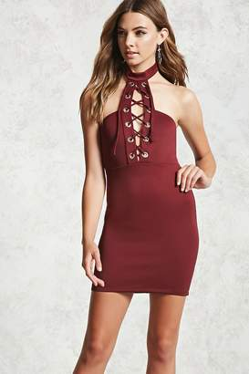 Forever 21 High-Neck Lace-Up Dress
