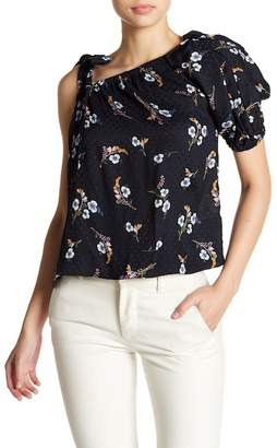 Rebecca Taylor One-Shoulder Natalie Floral Silk Top